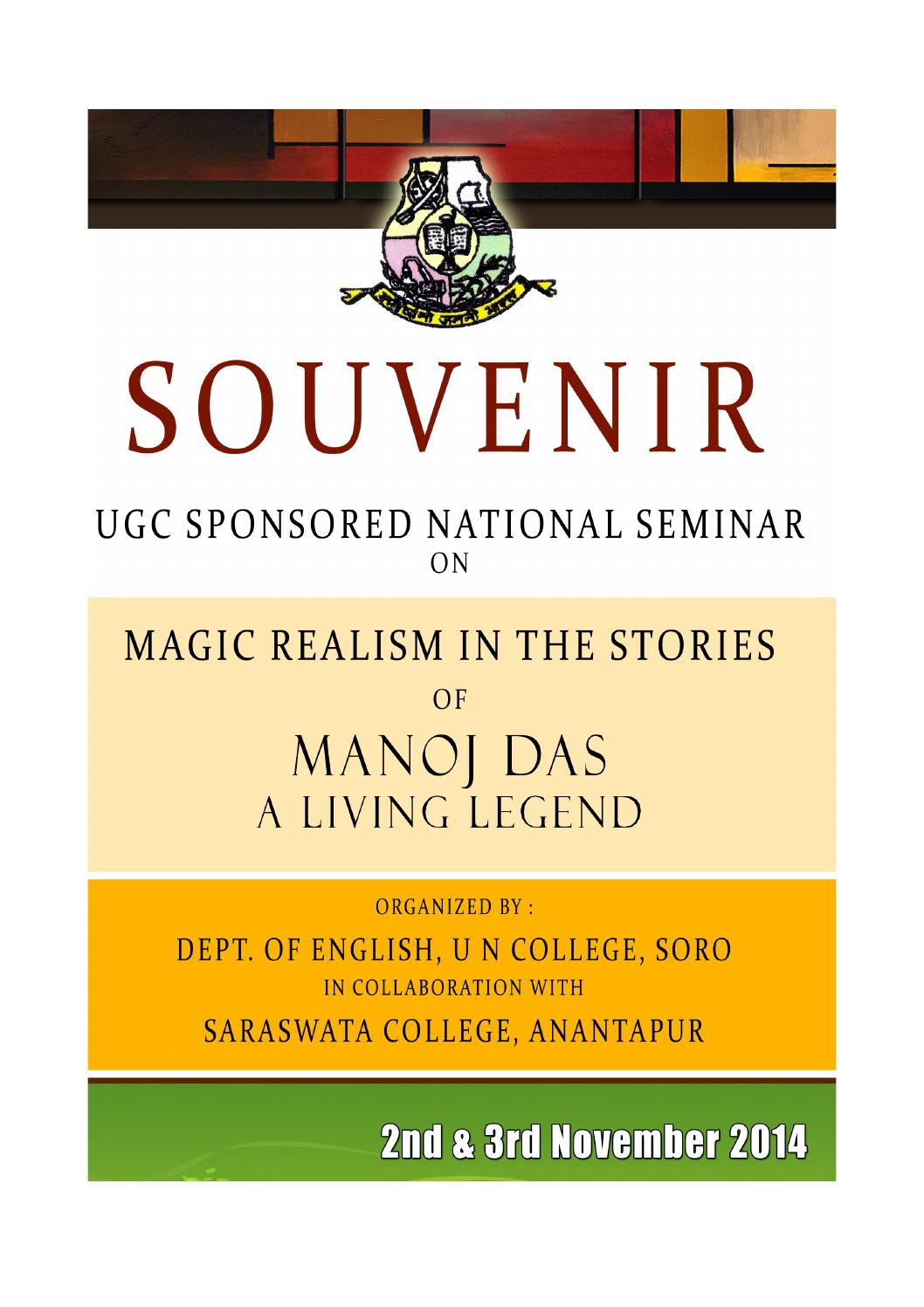 magic realism in the stories of manoj das a living legend souvenir magic realism in the stories of manoj das a living legend souvenir of ugc sponsored national seminar by samir ranjan das issuu