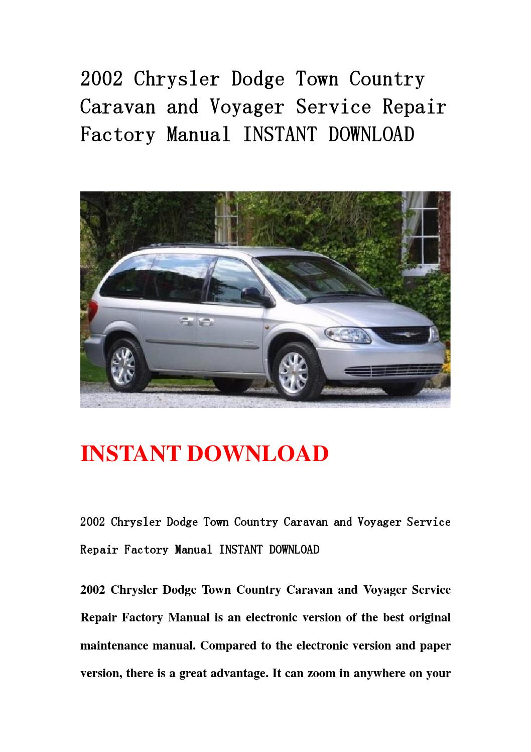 2002 chrysler dodge town country caravan and voyager service repair factory manual instant. Black Bedroom Furniture Sets. Home Design Ideas