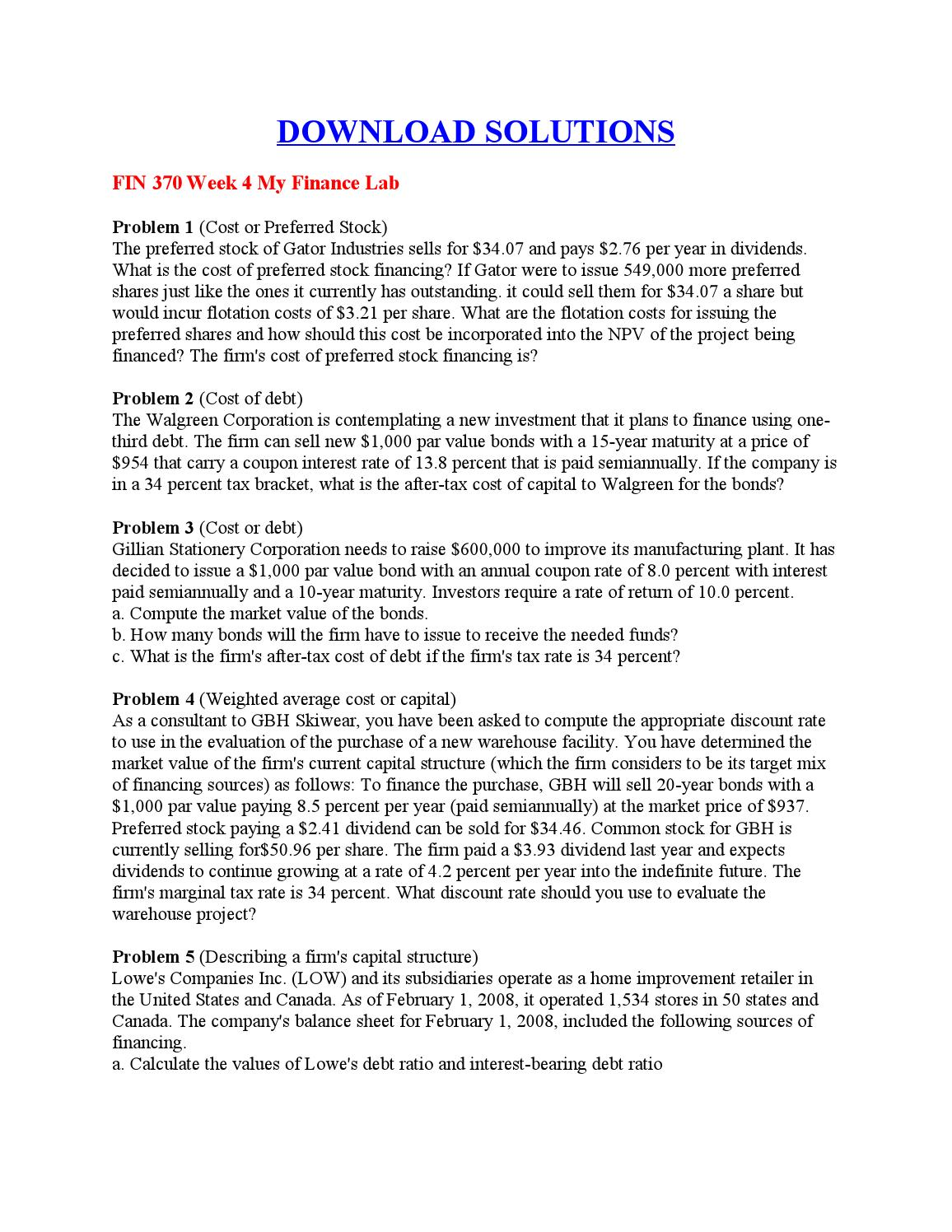 fin 370 week 2 my finance lab View lab report - fin_370_week_2_lab from fin 370 at university of phoenix click to download answers fin 370 week 2 my finance lab 1) templeton extended care facilities, inc is considering the.
