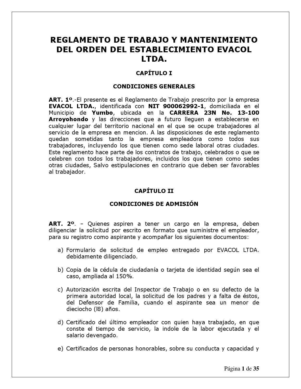 Reglamento interno de trabajo evacol ltda 21 ene 2014 2 for Ministerio de seguridad telefonos internos