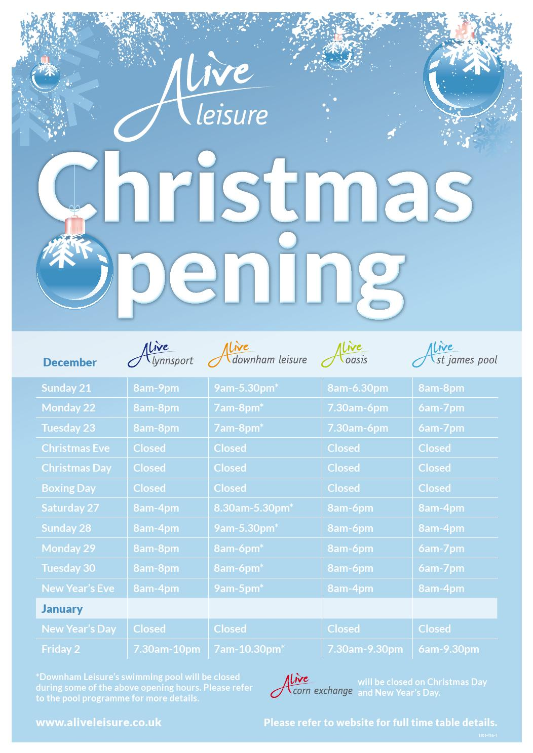 Alive Leisure Opening Hours By Alive Leisure Issuu