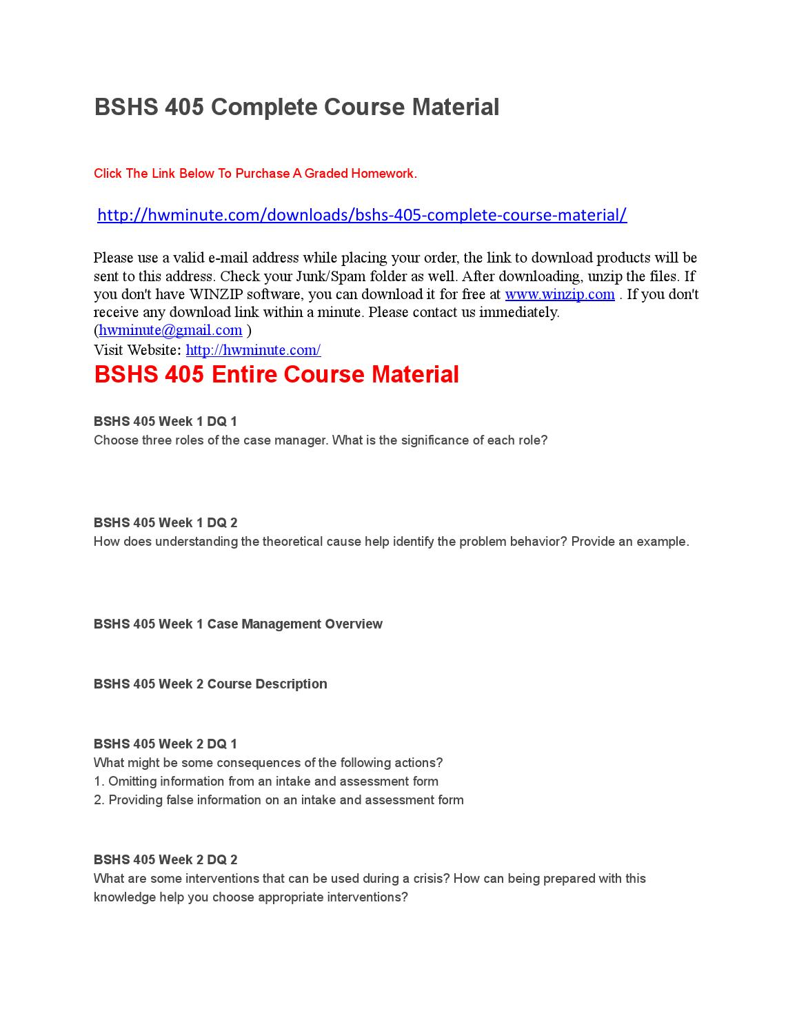 bshs 452 complete course material Instructor name sets syllabus apart from others for sections of the course possibly   practice drawings are explained, and assigned drawings are completed by.