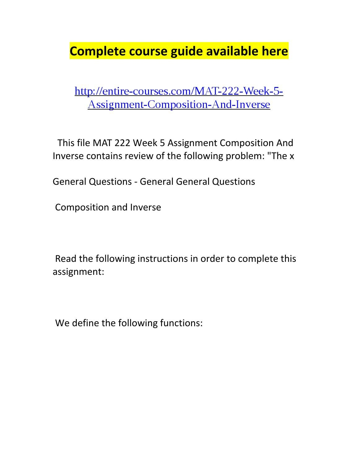 mat 222 week 1 assignment Solving proportion read the following instructions to complete this assignment: solve problem 56 on page 437 of elementary and intermediate algebra set.