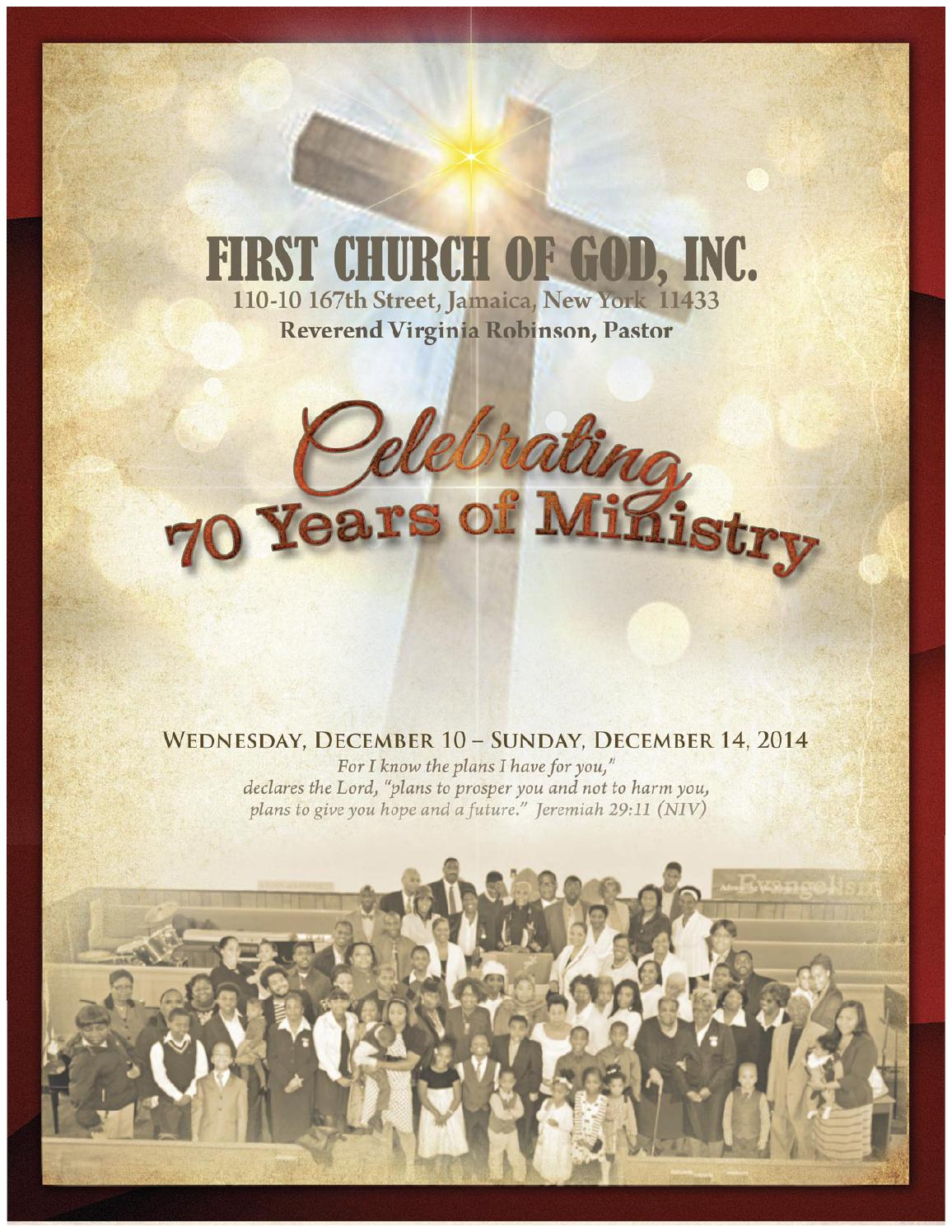 First Church of God 70th Anniversary Program by ...