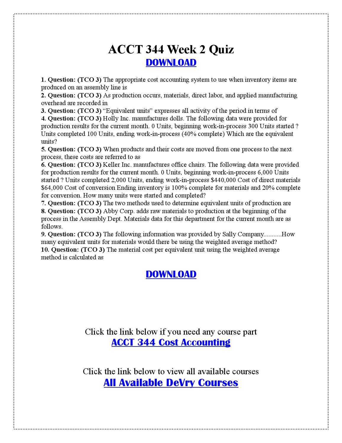ACCT 344 Final Exam
