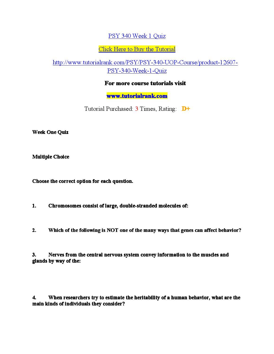 Psy 340 worksheet 1