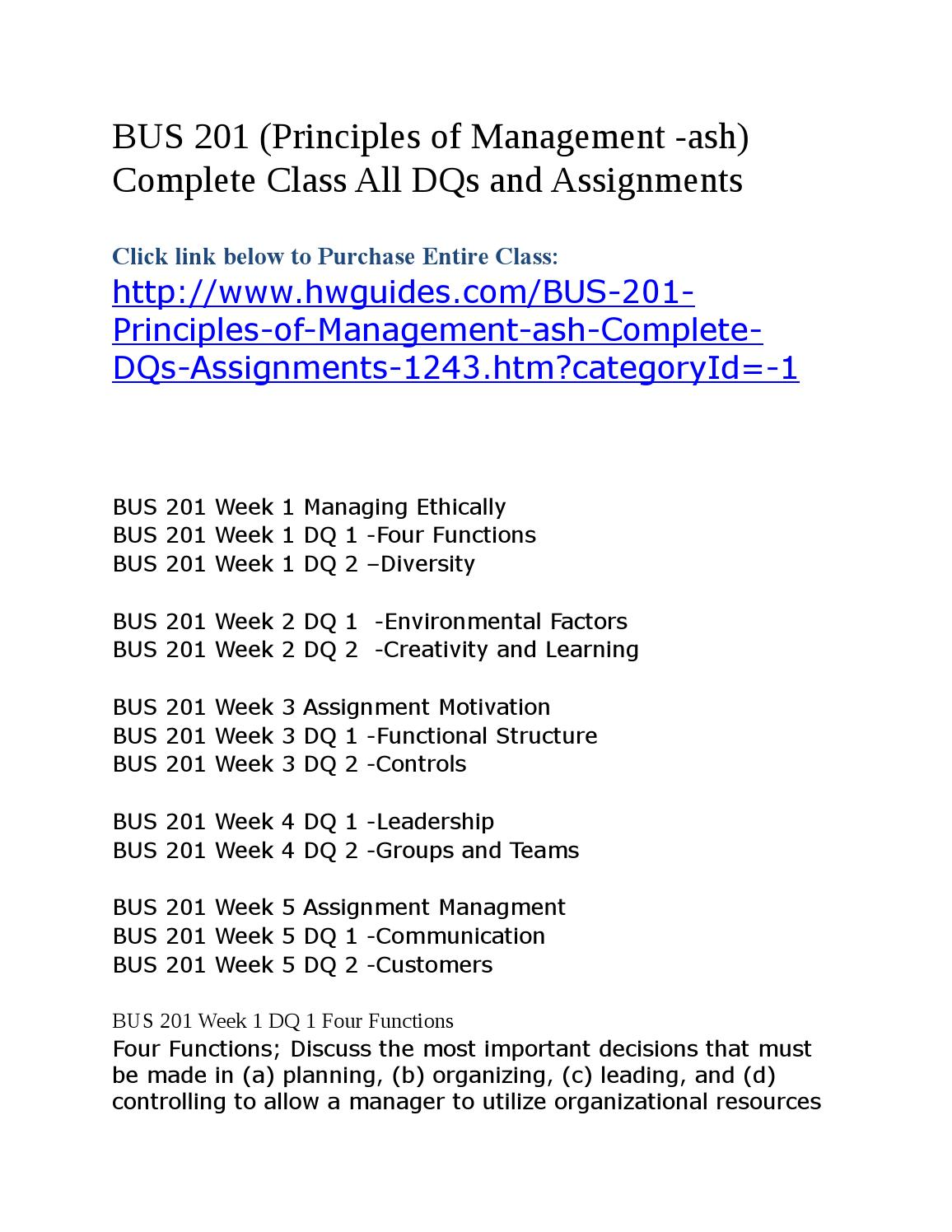 bus 201 principles of management Science (aas) in accounting and business management bus 201 business law 3 bus 241 principles of management 3.