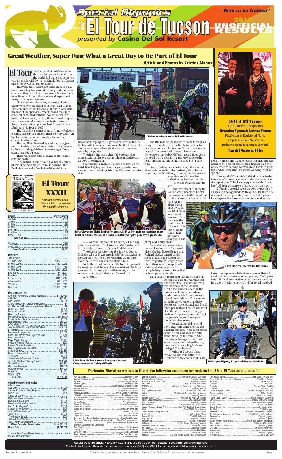 Tour De Tucson Results