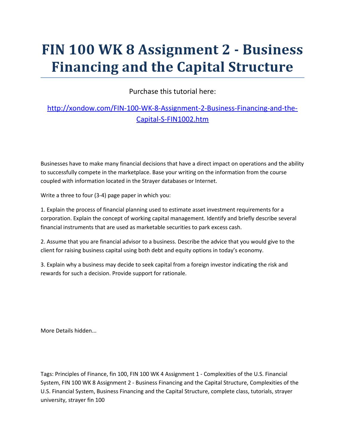 business financing and the capital structure 2 essay Running head capital structure and financing 1 the capital structure essay the scope of this paper is to examine the two primary sources of business.