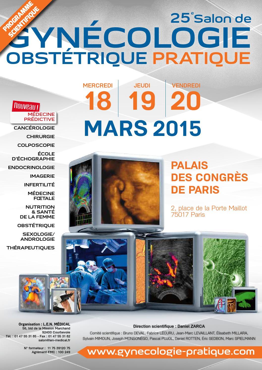 Programme pr liminaire du 25e salon de gyn cologie - 2 place de la porte maillot 75017 paris ...
