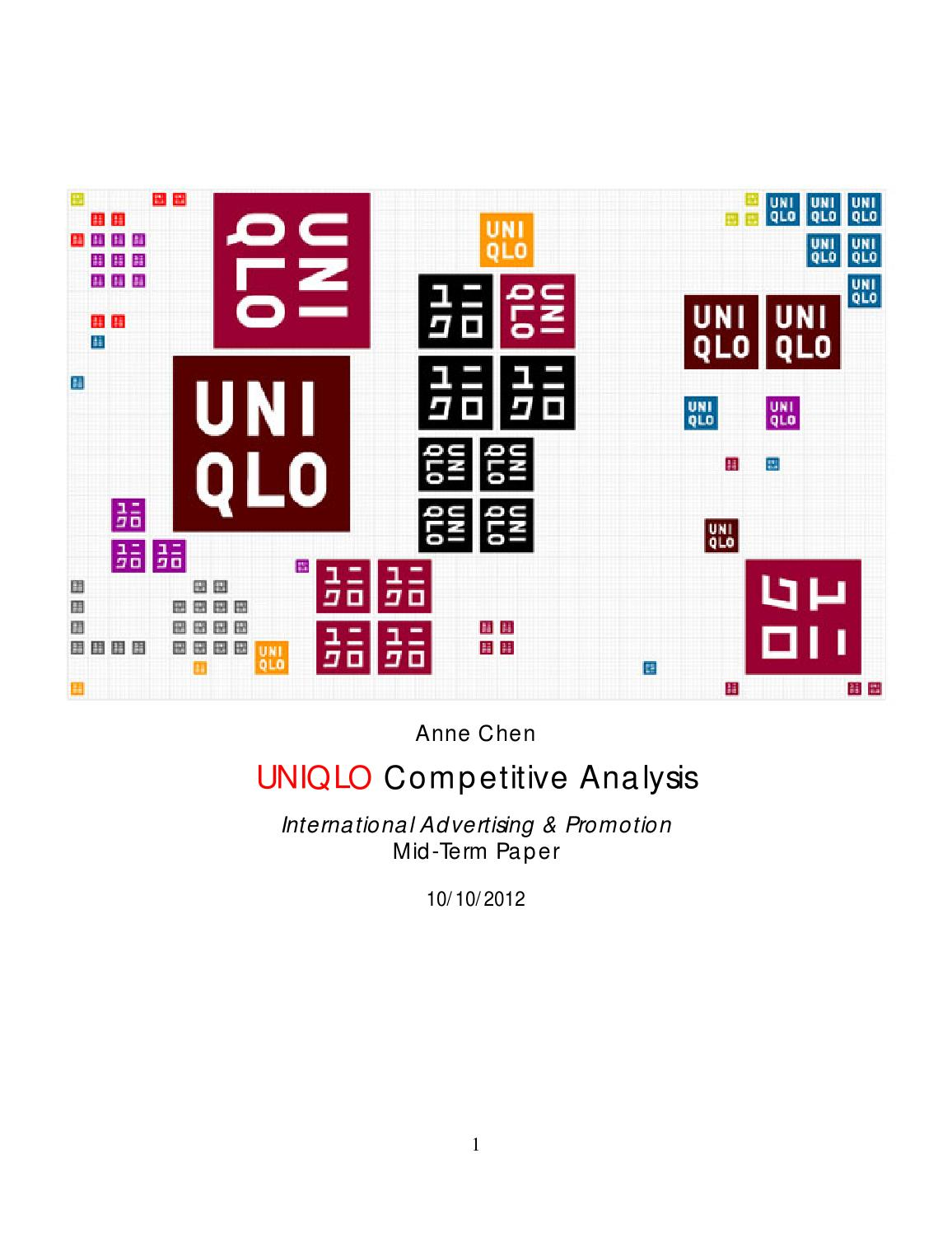 strategic initiative uniqlo by nicole drain  uniqlo competitive analysis