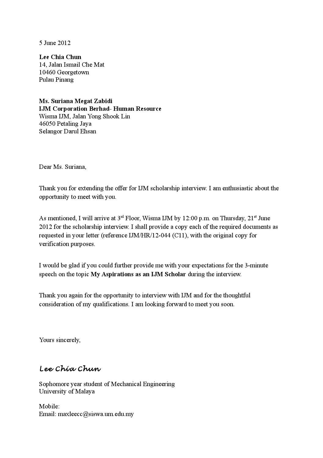 confirmation letter to attend an interview by max lee issuu