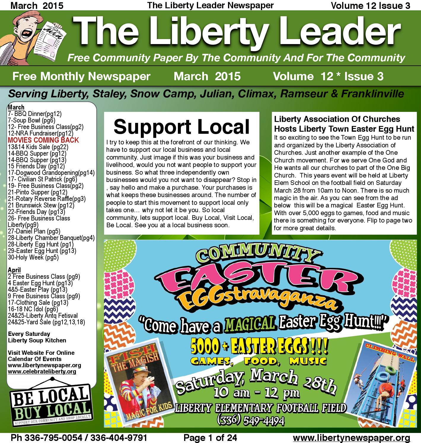 March 2015 Liberty Leader Newspaper By Kevin Bowman (page