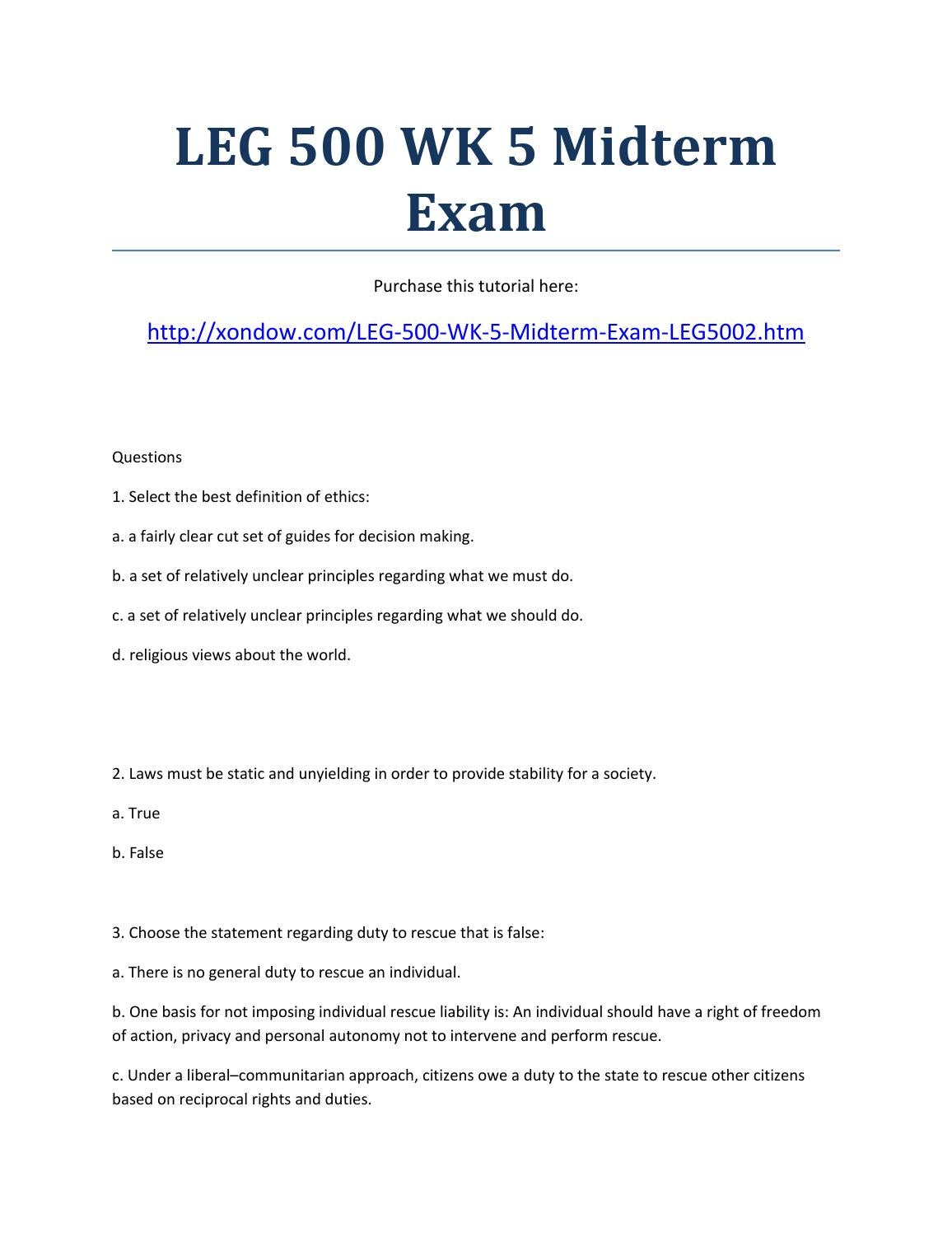 leg 500 exam Leg 500 final exam part 1 this exam consist of 25 multiple choice questions and covers the material in chapters 1 through 5 which of the following statements is incorrect regarding the rights of shareholders.