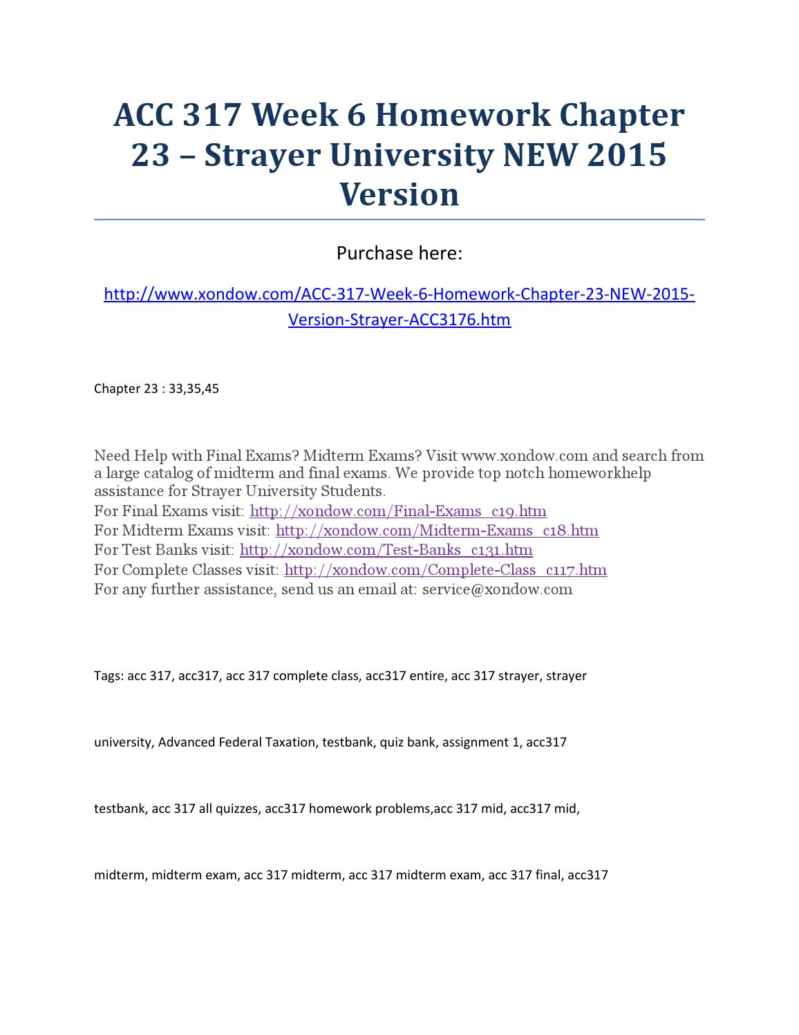 acc 305 strayer test bank Largest database of quality sample essays and research papers on leg 100 strayer university acc 305 strayer test bank all chapters included with answers.
