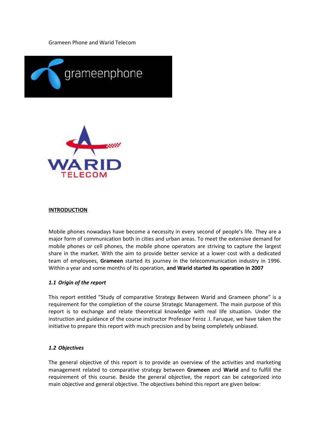 project on warid telecom About warid telecom warid telecom is one of the cellular service providers in pakistan launched in may 2005 the company is now 100% owned company of the abu dhabi group and offers state-of-the-art telecommunication services at over 7,000 destinations in pakistan.