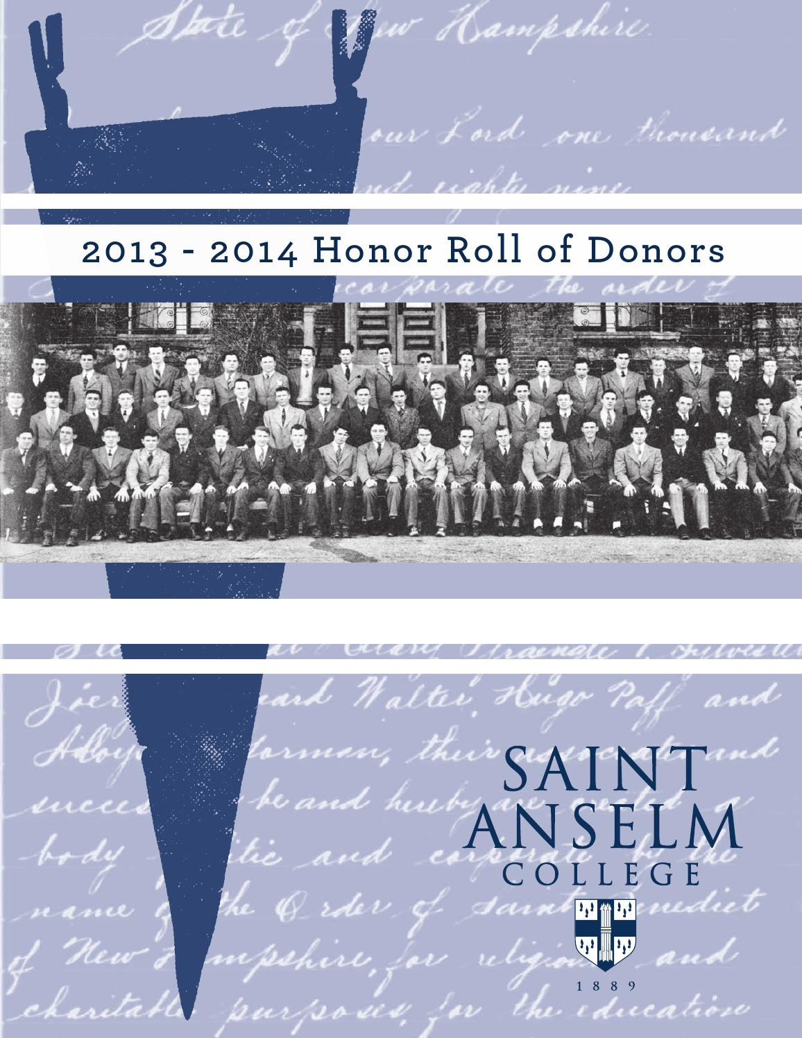 honor roll of donors 2013 2014 by saint anselm college issuu