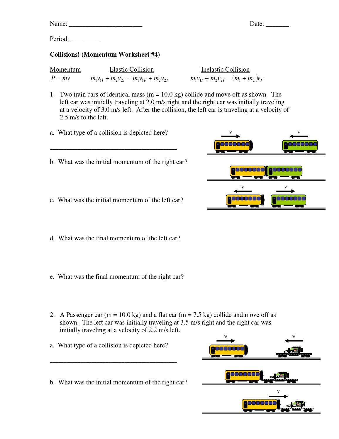Printables Momentum Worksheet momentum worksheet worksheets for kids 1 pages questions doc notice