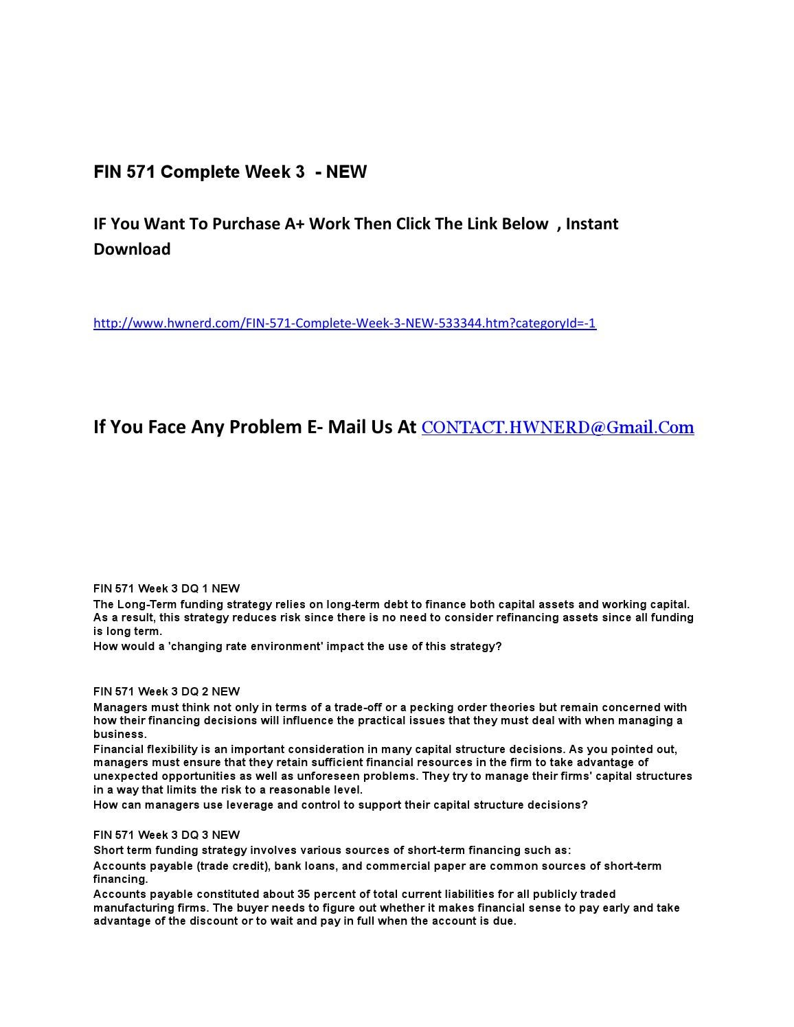 fin 571 complete week 2 View homework help - week 2 homeworkdocx from finance fin/571 at  university of phoenix  then calculate the total cost for each value chain  category.
