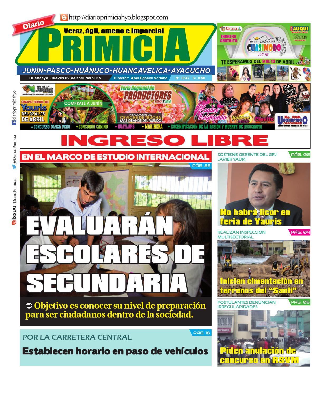 diario primicia huancayo 02 04 15 by diario primicia issuu