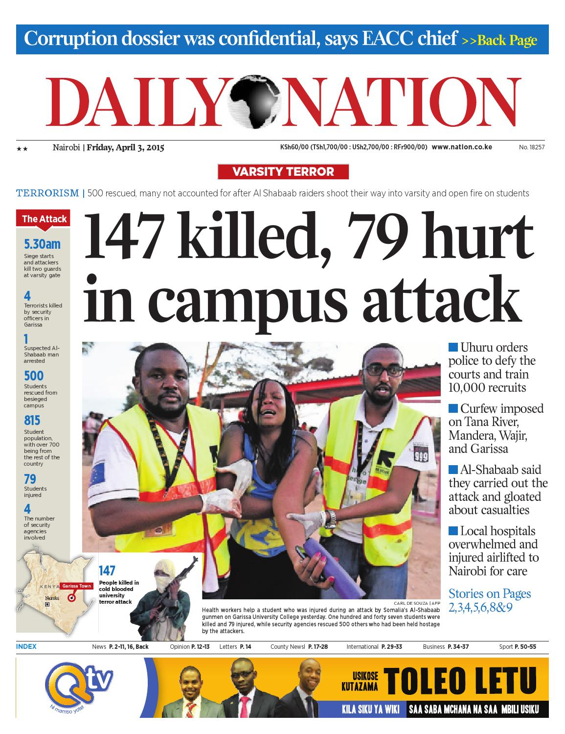Daily nation apr 3rd 2015 by HABA KWA HABA - issuu Daily Nation