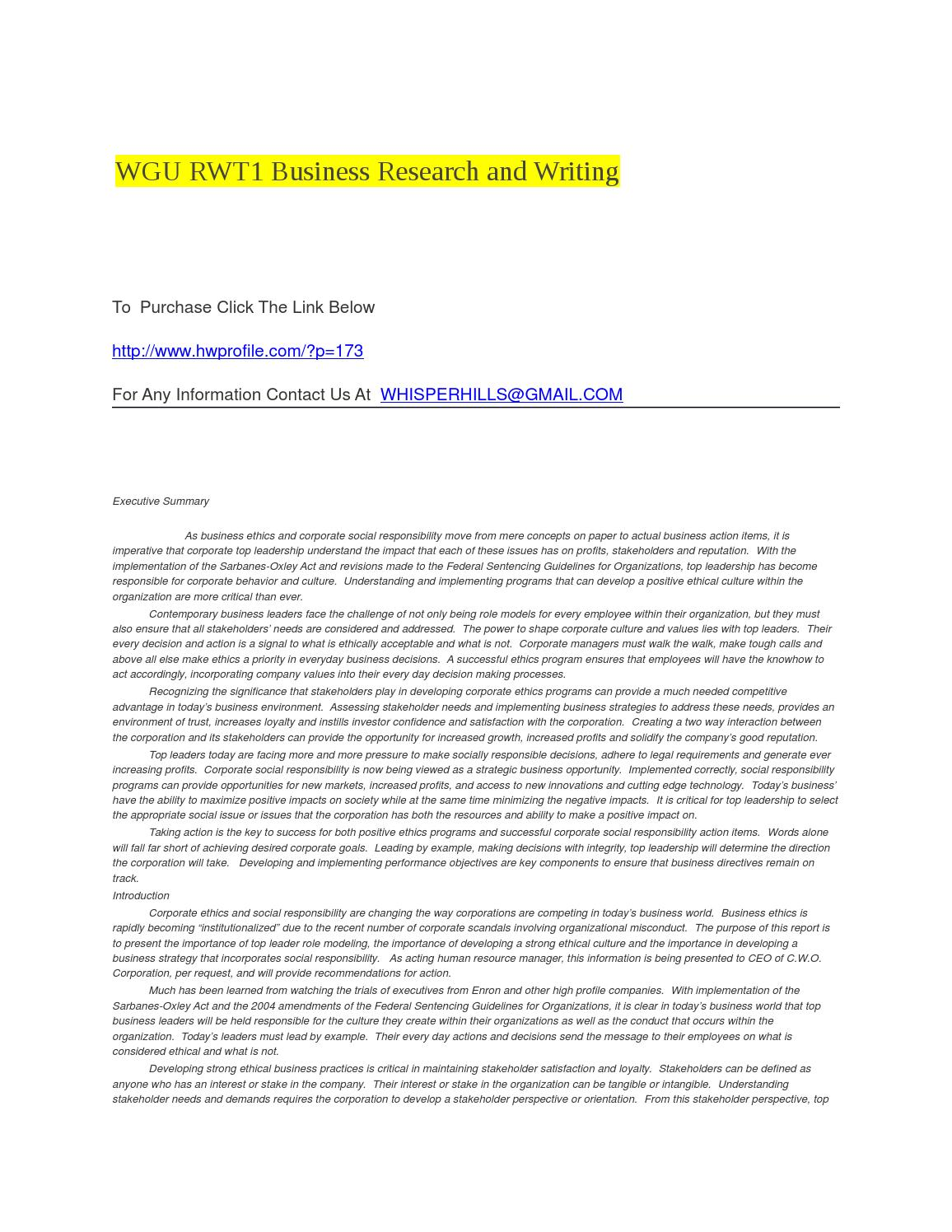 rwt1 wgu business report Business research report evaluating compensation strategies assessment code: rwt1 table of contents executive summary 3.