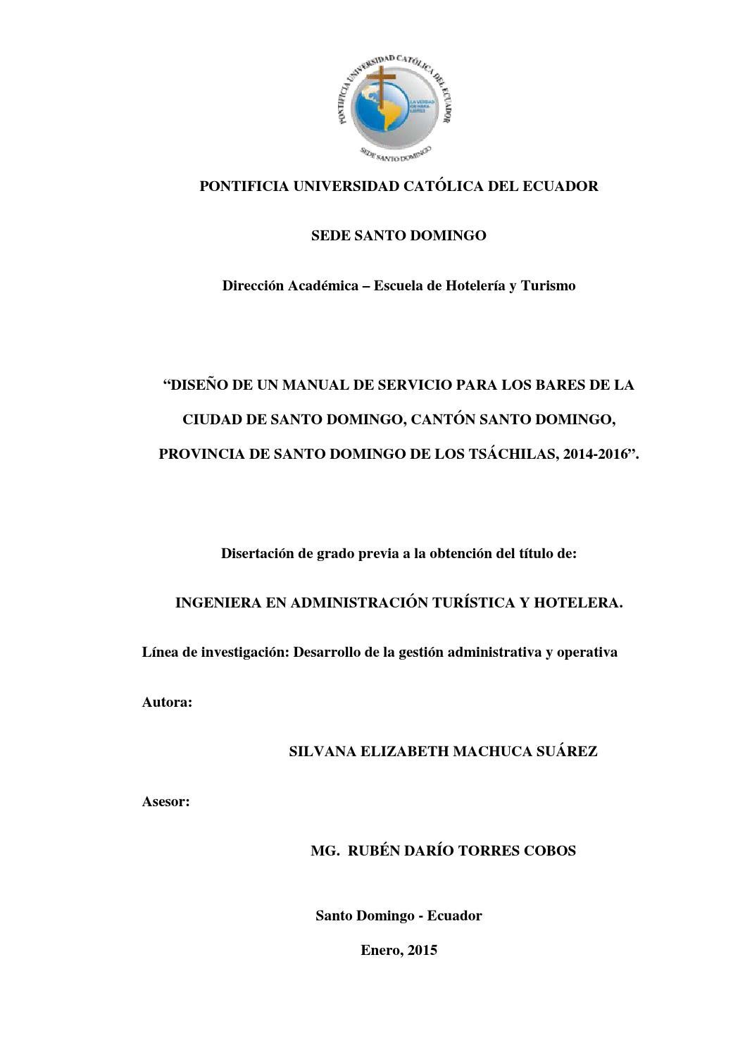 Dise o de un manual de servicio para los bares de la for Manual de operaciones de un restaurante ejemplo