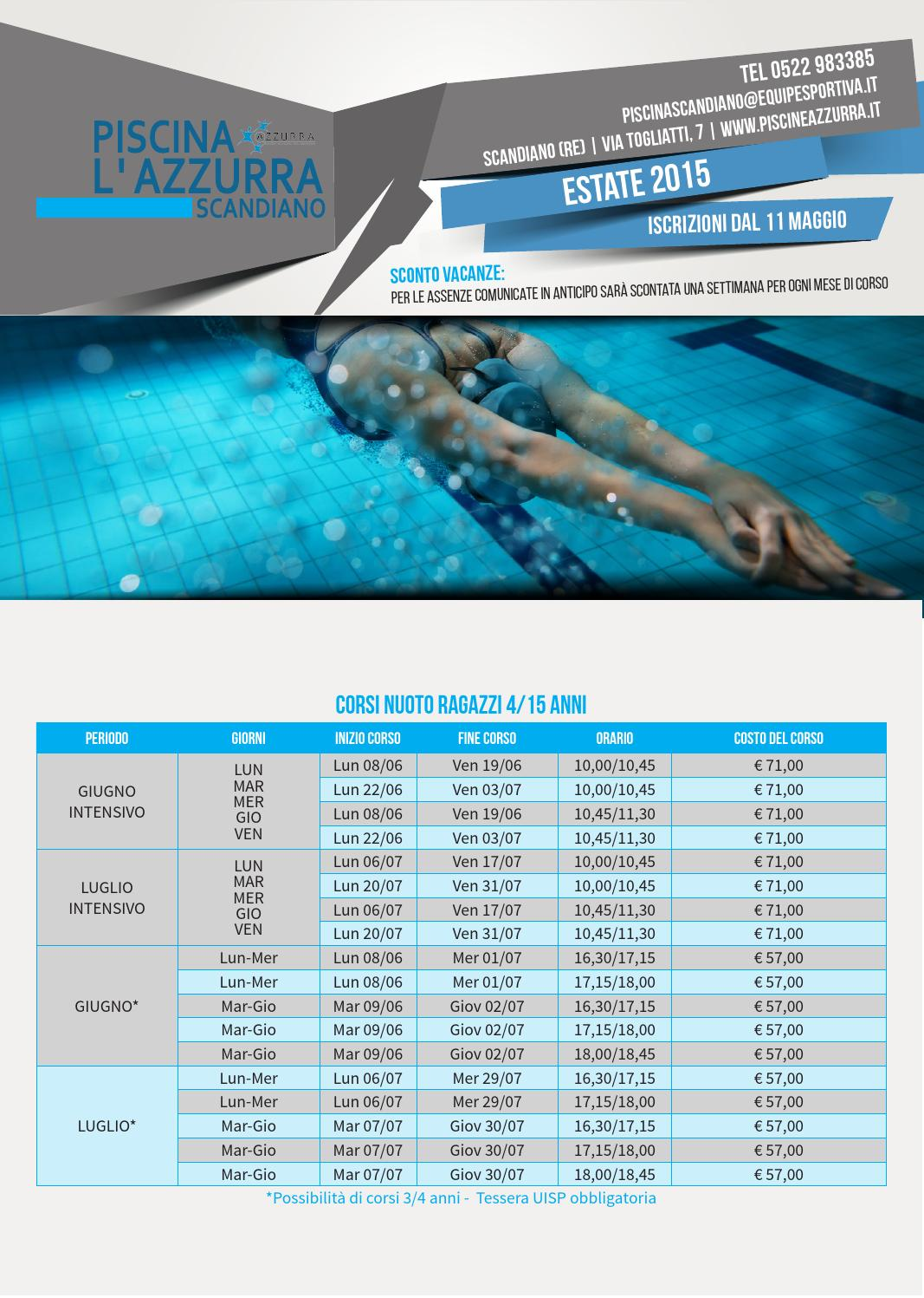 Corsi piscina estate 2015 azzurra scandiano by equipe sportiva srl ssd issuu - Piscina azzurra scandiano ...
