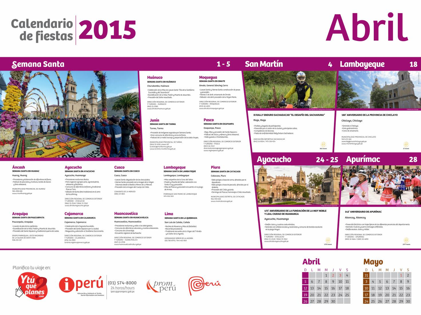 Calendario de festividades y eventos abril 2015 by visit for Horario peru wellness