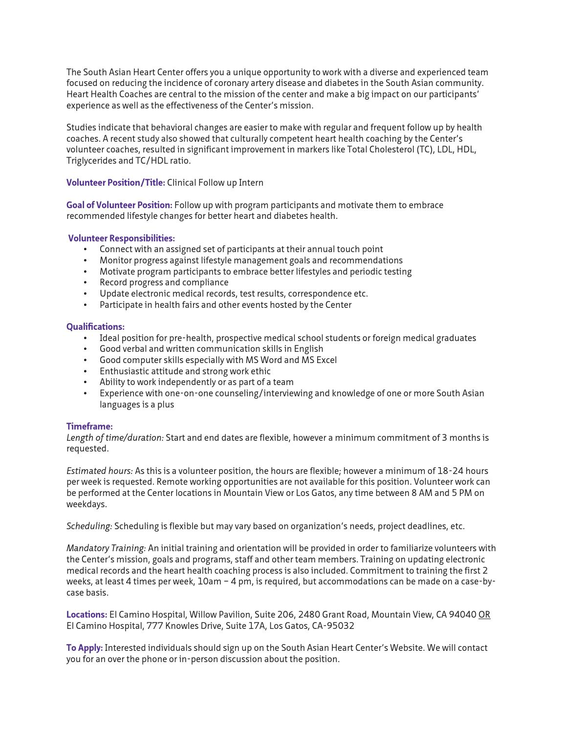cliical follow up intern job description by south asian heart cliical follow up intern job description by south asian heart center issuu