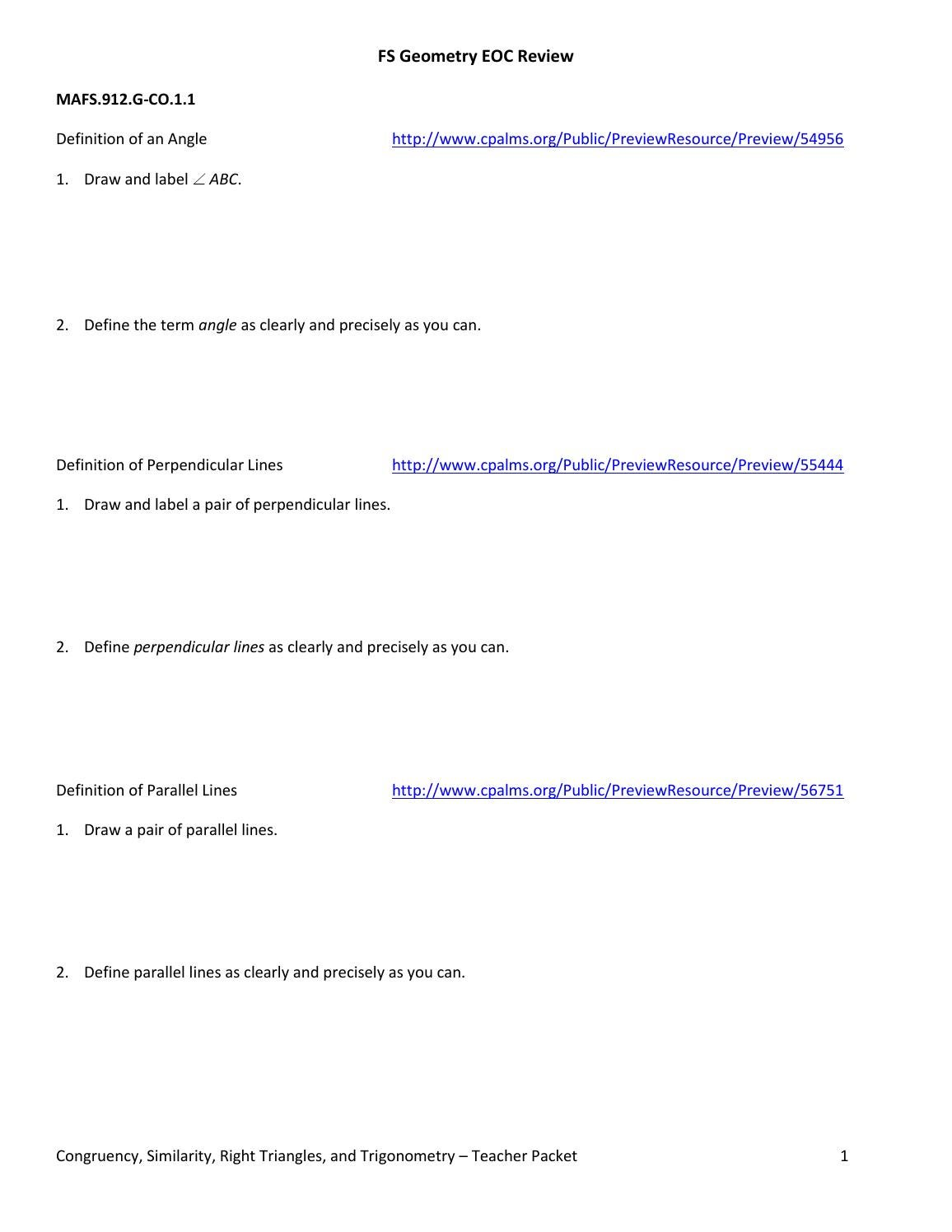 Eoc review answer sheet 3 by Aaron Galit issuu – Similarity in Right Triangles Worksheet