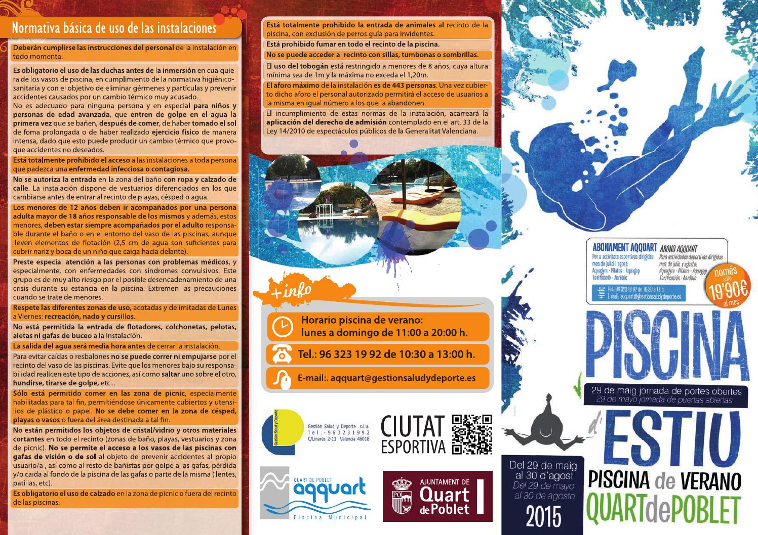 Horario piscina de verano 2015 by quart de poblet issuu for Piscina quart de poblet