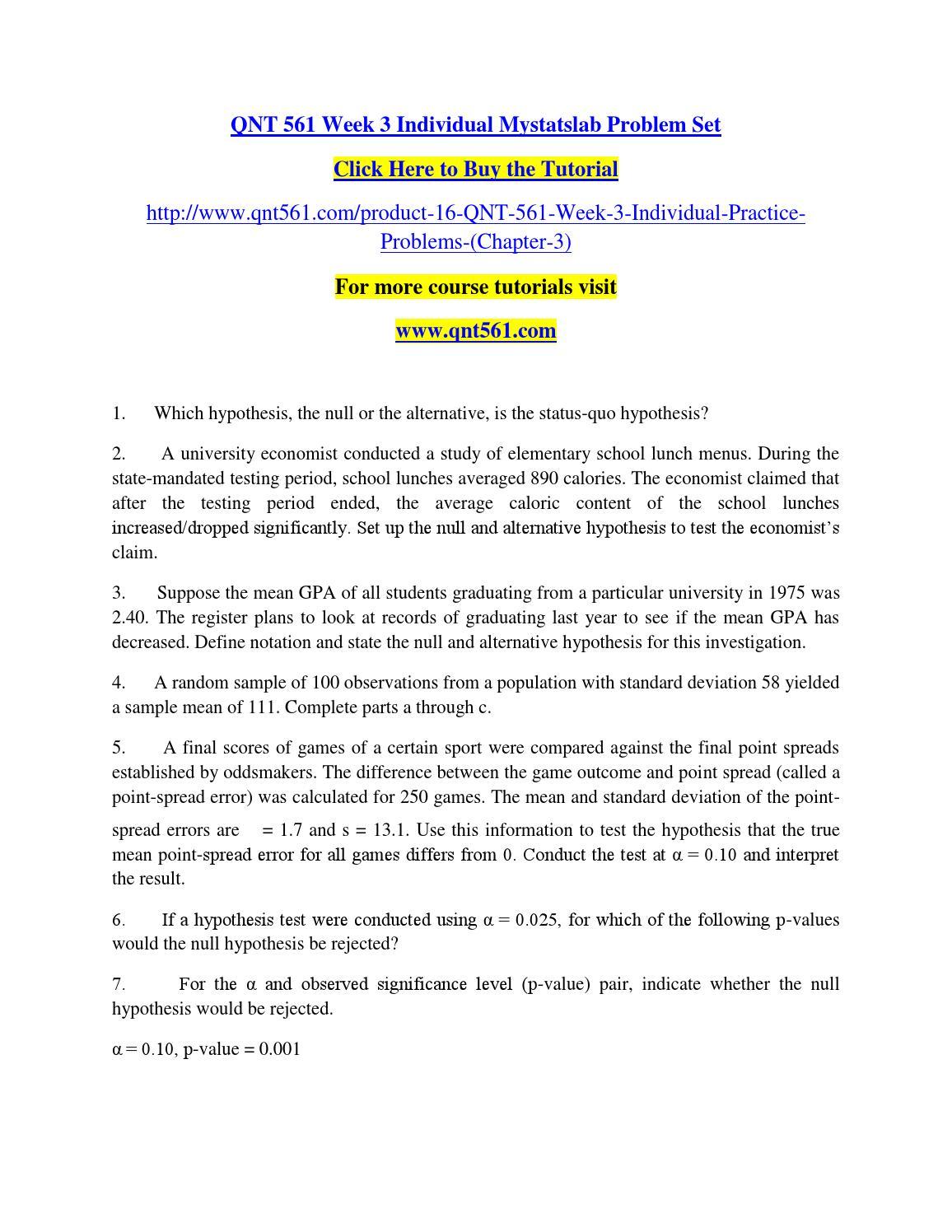 Qnt 561 Week 3 Individual Mystatslab Problem Set By Vbhngfgvfds Issuu Qnt  561 Week 3 Individual