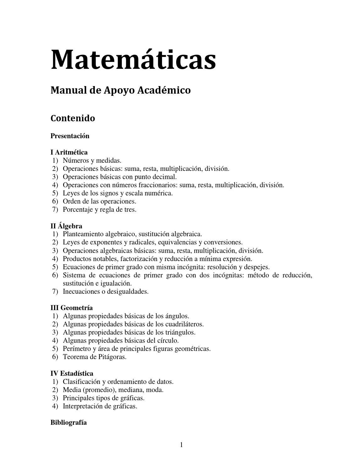 Manual matem ticas by estudiantes ind genas issuu for Manual operaciones basicas de cocina