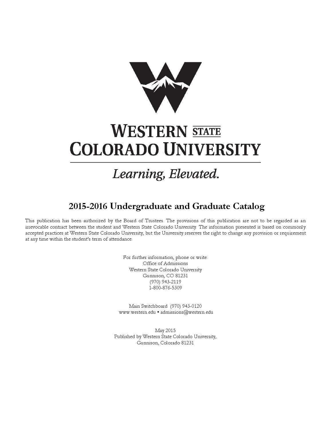 201516 University Catalog For Western State Colorado University By Western  State Colorado University Issuu 201516 University How To Calculate Gpa