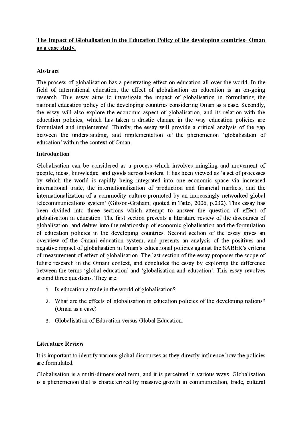 the impact of globalisation in the education policy of the the impact of globalisation in the education policy of the developing countries by payal ghosh