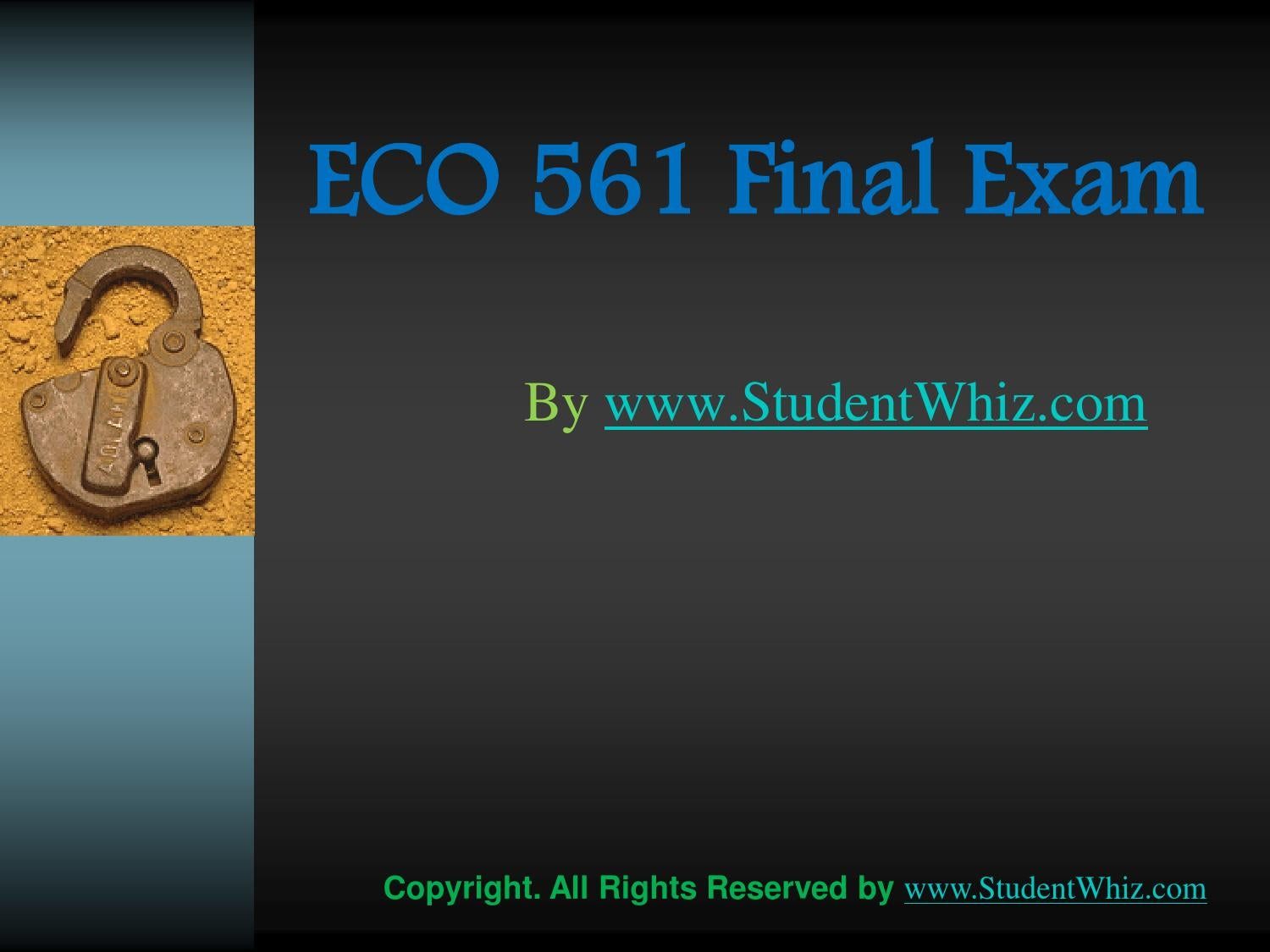 Eco 561 Week Two Quiz Answers