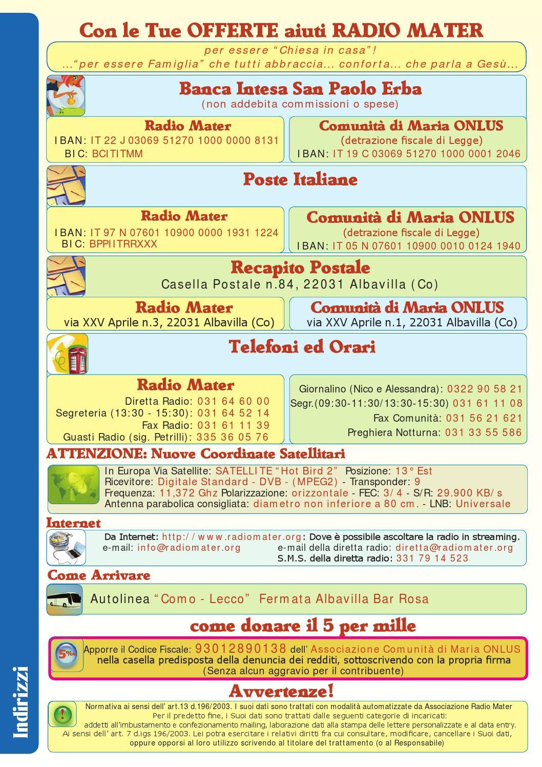 Giornalino n 62 eccoci mamma by radio mater page 16 for Recapito postale