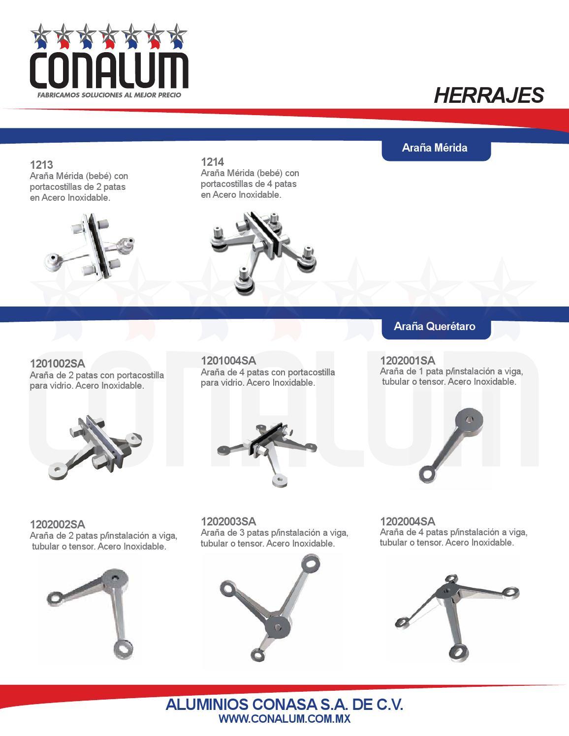 Herrajes para bano fachada y accesorios by conalum issuu - Herrajes de acero inoxidable ...