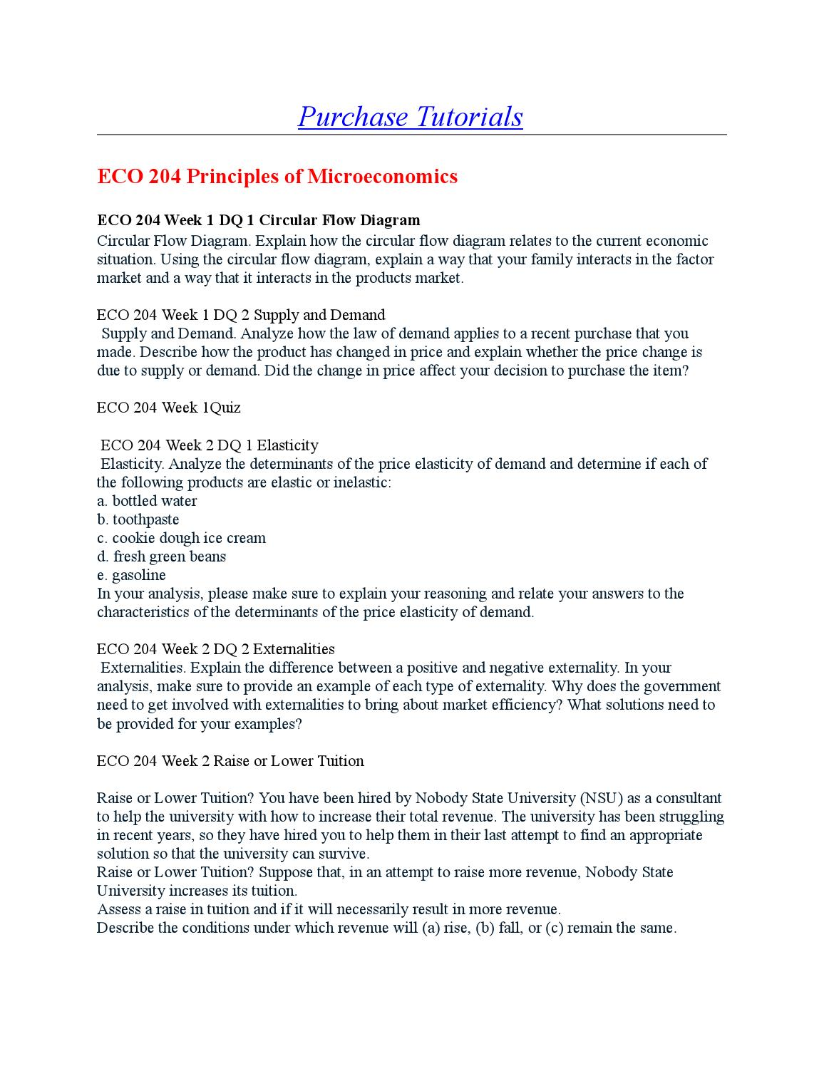 eco 204 principles of microeconomics Here is the best resource for homework help with eco 204 pr 204 : principles of microeconomics at ashford university find eco 204 pr204 study guides, notes.
