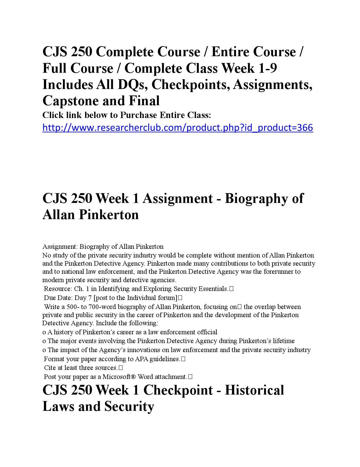 cjs250 allan pinkerton Cjs 250 week 9-final project techy of fortune october 30 cjs 250 week 1-assignment - biography of allan pinkerton general questions general academic.
