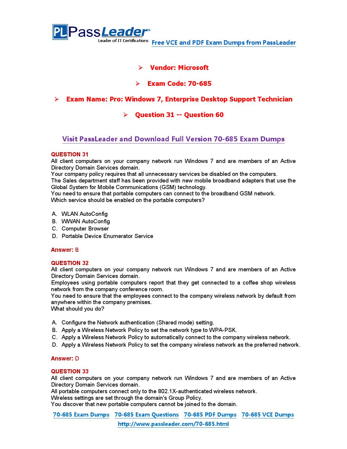 70-685 Exam Dumps with PDF and VCE Download (31-60) by ...
