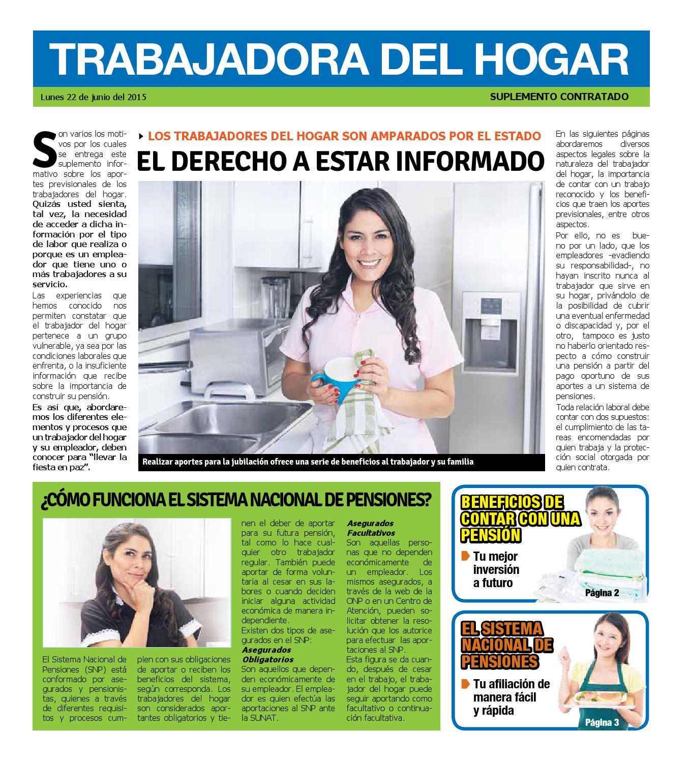 Suplemento trabajadores del hogar diario trome by onp for Formulario trabajadores del hogar