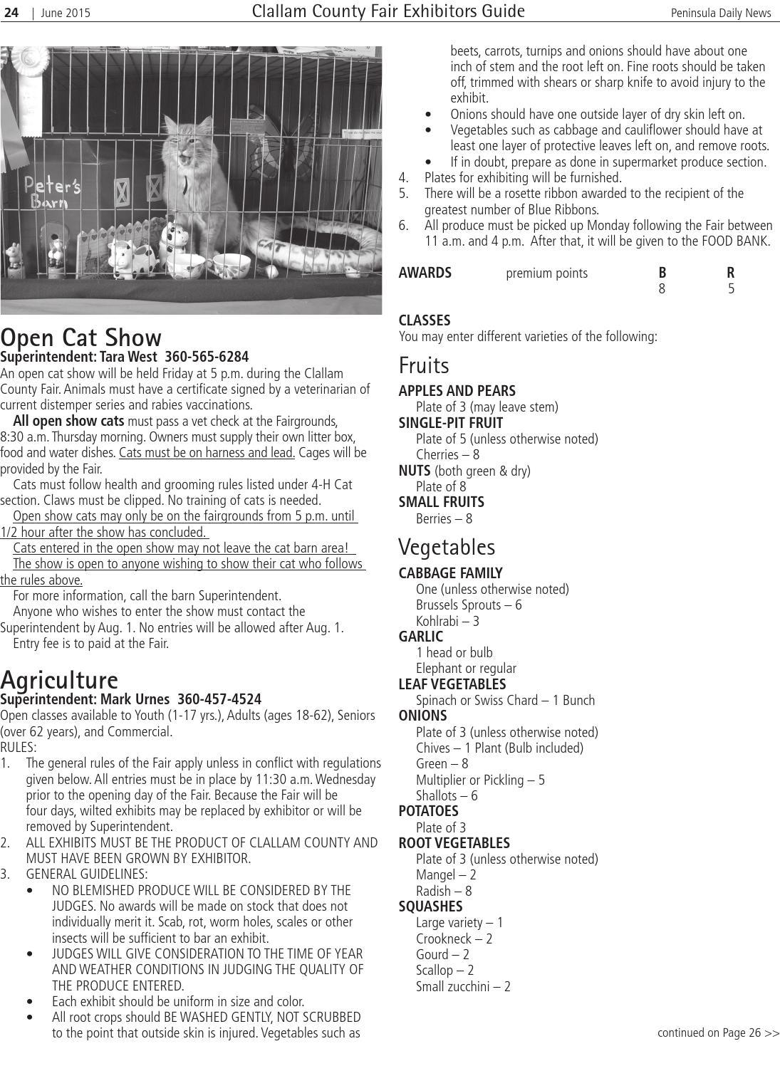 Clallam County Fair Exhibitor S Guide 2015 By Peninsula