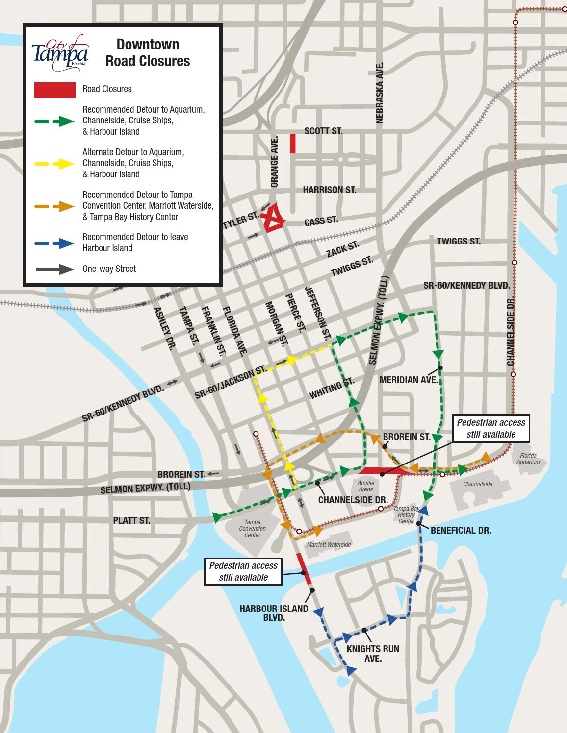 issuu tampa channelside drive downtown road closures map 1 by wfla newschannel8. Black Bedroom Furniture Sets. Home Design Ideas