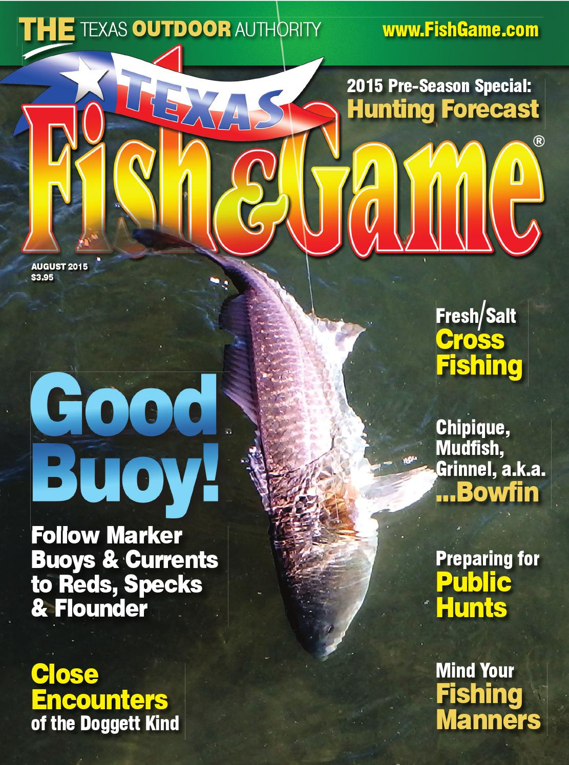 Texas fish game august 2015 by texas fishing and hunting for Texas saltwater fishing magazine