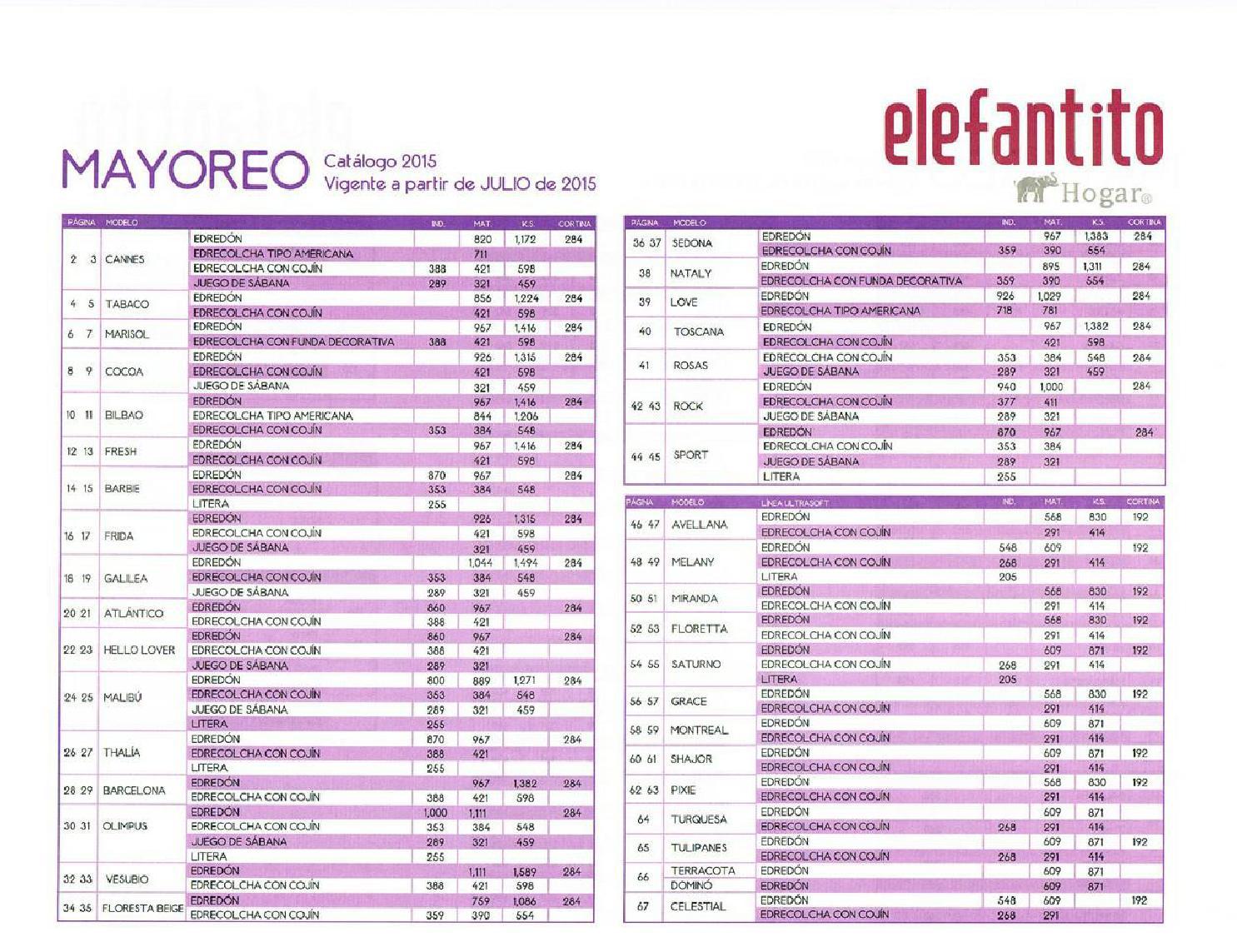 Catalogo precios colchas elefantito 2015 2016 by www for Cobertores para piscinas precios