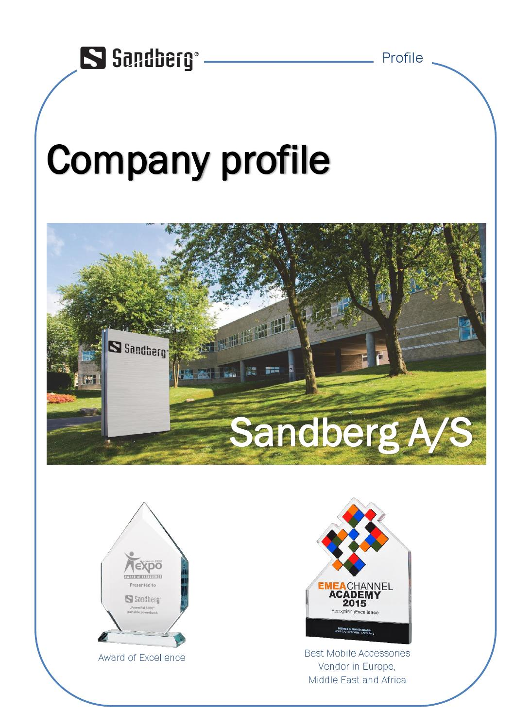 Sandberg Company Profile 2015 by Sandberg A/S