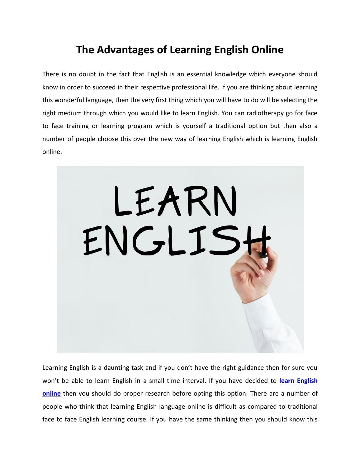 Benefits of learning english as your