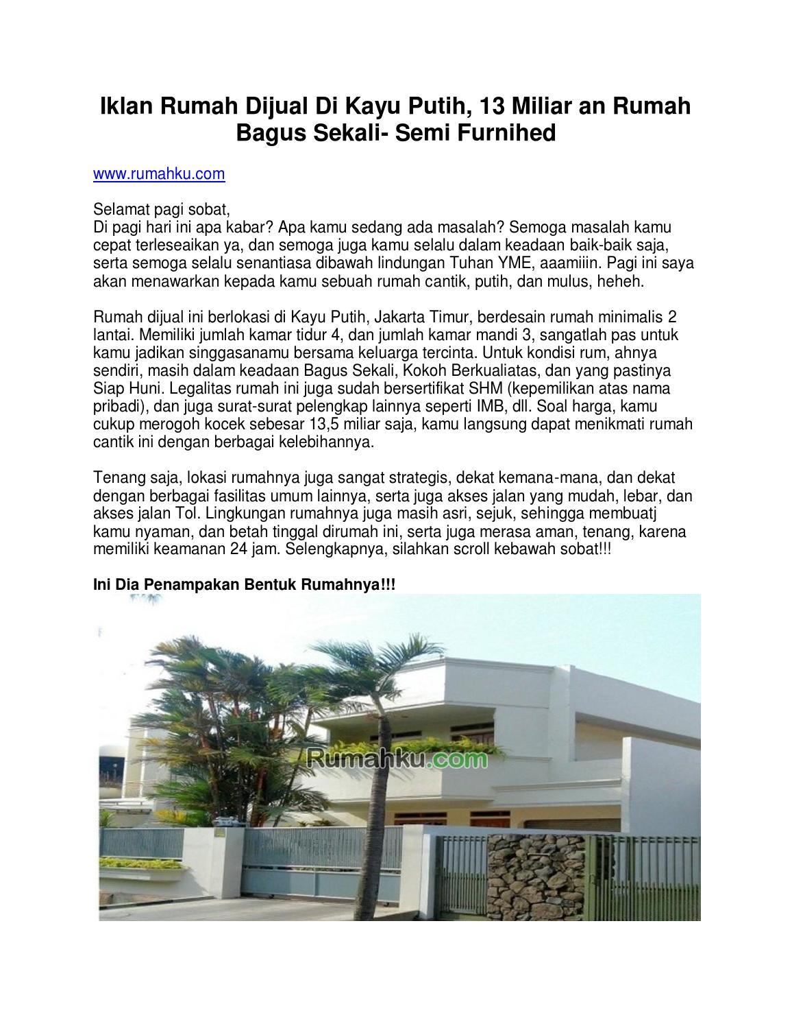 iklan rumah dijual di kayu putih 13 miliar an rumah bagus